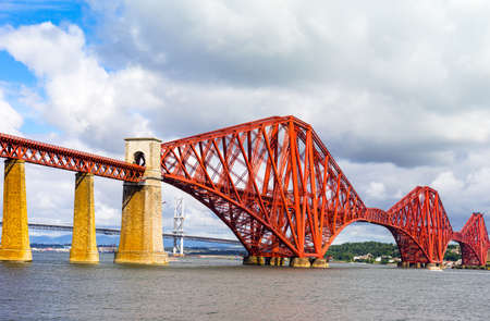 lothian: Great Britain, Scotland, Lothian area, the Forth Rail Bridge seen from South Queenferry, in the background the Forth Road Bridge. Stock Photo