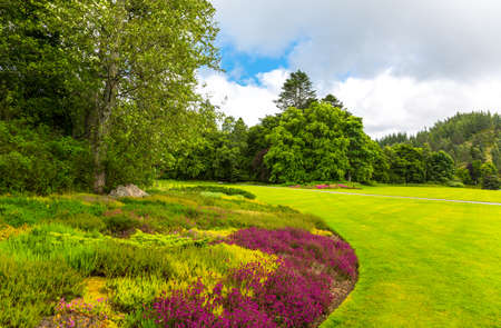 royal family: Great Britain, Scotland, Aberdeenshire, the gardens of the Balmoral castle, summer residence of the British Royal Family. Stock Photo