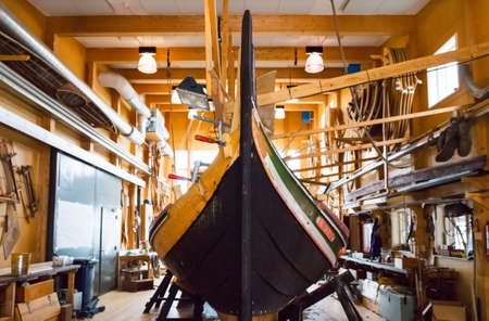 viking ship: Roskilde, Denmark - July 23, 2015: A workshop of traditional boat near the Viking Ship Museum Editorial