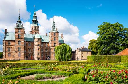 Copenhagen, Denmark - July 20, 2015: The Rosenborg castle seen from the King's garden Editorial