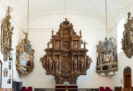 altarpiece: Copenhagen, Denmark - July 22, 2015: The wooden altarpiece in the Holmens church inside Editorial