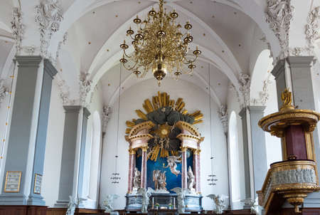 nave: Copenhagen, Denmark - July 22, 2015: Visitors in the nave of the Our Saviours church Editorial