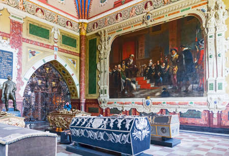 Roskilde, Denmark - July 23, 2015: A painting of the Christian IV chapel in the medieval Cathedral