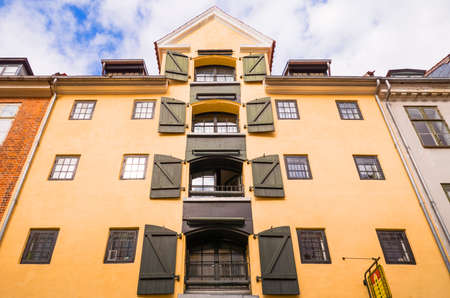 admiral: Copenhagen, Denmark - July 20, 2015: Upward view of a traditional house in Admiral Garden street