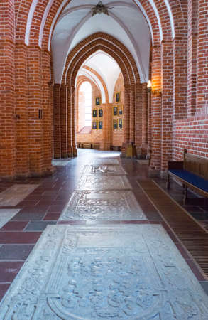 nave: Roskilde, Denmark - July 23, 2015: The side nave of the medieval Cathedral