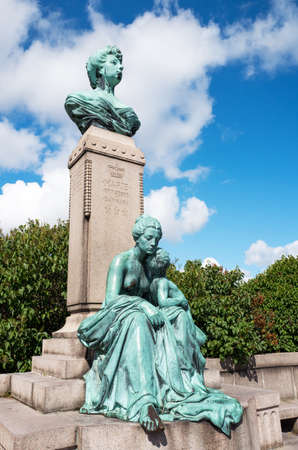 Copenhagen, the bronze bust of princess Marie of Orleans in the Sangelinie belvedere.