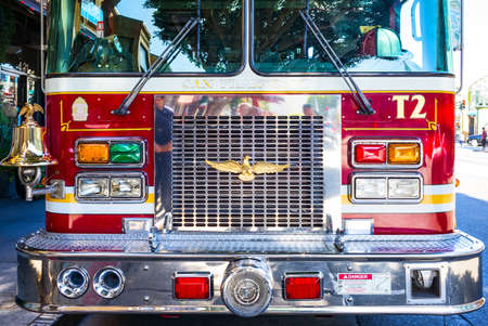 tracked: San Francisco, USA - September 23, 2015:  Detail of a fire truck in Colombus Avenue area