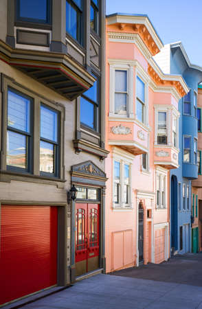telegraph hill: San Francisco, USA - September 23, 2015: The traditional colored houses of Filbert street, Telegraph Hill area