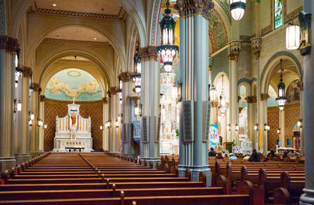 nave: San Francisco, USA - September 23, 2015: People in the nave of the St Peter and Paul Catholic church