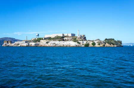 San Francisco, California, the Alcatraz island seen from a ferry making a cruise on the bay Stock Photo