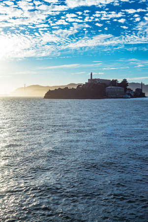 alcatraz: San Francisco, California, backlight sunset view of the Alcatraz island