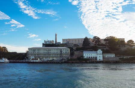 alcatraz: San Francisco, California, backlight sunset view of the Alcatraz island