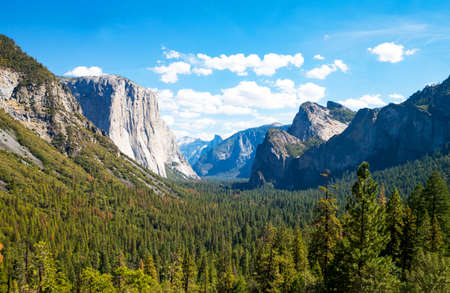 spires: Yosemite National Park, California, panoramic view of the valley with the El Capitan and the Cathedral Spires mountains