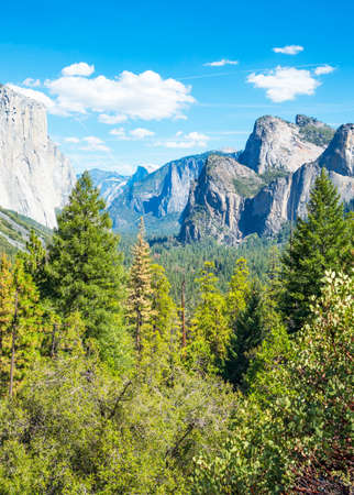 Yosemite National Park, California, panoramic view of the valley with the El Capitan and the Cathedral Spires mountains