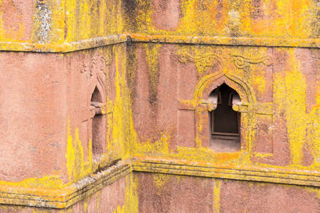 monolithic: Ethiopia, Lalibela, detail of the facade of the monolithic underground Sain George Orthodox church