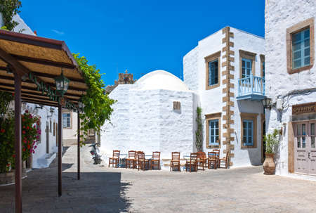 Greece, Dodecanese,Patmos, the central square of the Chora village Editorial