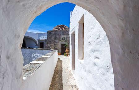 chora: Greece, Dodecanese,Patmos, the Agios Joannis Theologos Monastry