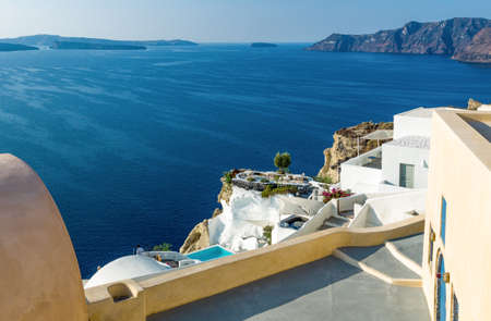 Greece, Santorini, view of the Caldera sea area from the Imerovigli village