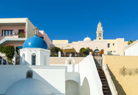 volcan: Greece, Santorini, Fira, foreshortening of the village with the blue dome of orthodox church