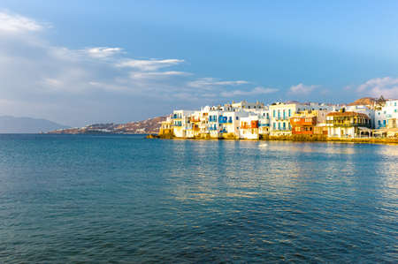 little venice: Greece, Mykonos, Chora, view of the Little Venice area at sunset