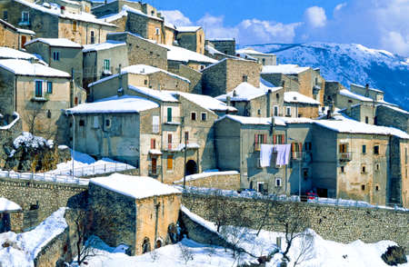 Italy, Gran Sasso National Park, view of Rocca Calascio little country