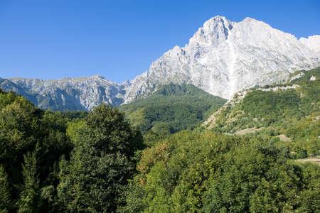 Italy, Gran Sasso National Park, view of Teramo side of Gran Sasso peak Stock Photo