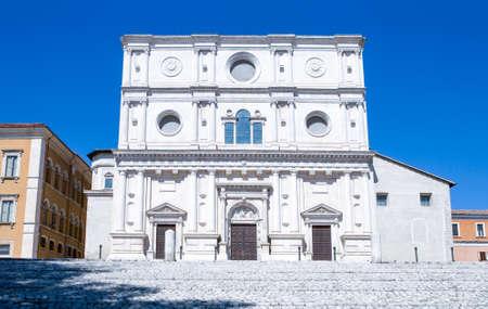 xv century: Italy, LAquila, the facade of the St. Bernardino basilica (XV century) Stock Photo