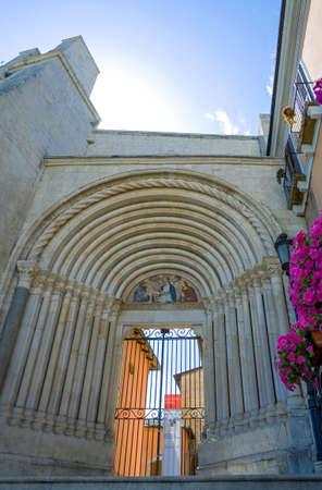 xv century: Italy, Sulmona, upward view of the portal of St.Francesco church (XV century)