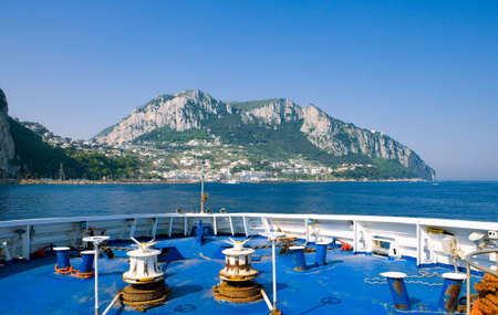 Capri, Italy - March 7, 2008: The Marina Grande harbor  seen from an arriving ferryboat. Editorial