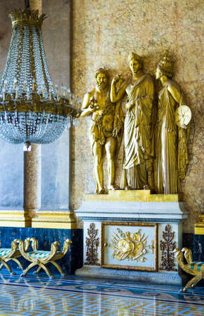 Caserta, Italy - March 9,2008:  The throne room of the Royal Palace, detail
