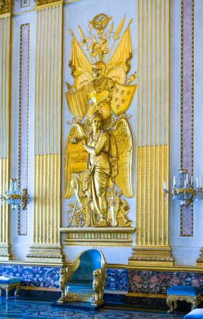 Caserta, Italy - March 9,2008:  The throne room of the Royal Palace, detai