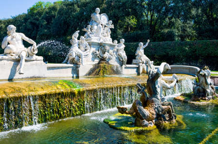 Italy, Caserta, the marble group of  a fountain in the park of the Royal Palace