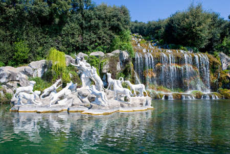 marble palace: Italy, Caserta, the marble group of  a fountain in the park of the Royal Palace