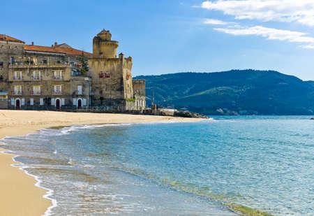 Italy,Cilento, Santa Maria di Castellabate, the beach with the Pagliarolo tower