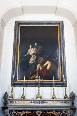 Naples, Italy - August 4, 2015:  A painting by Battistello in the Pio Monte Della Misericordia church