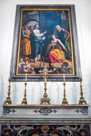 Naples, Italy - August 4, 2015:  A painting by Santafede in the Pio Monte Della Misericordia church
