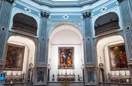 Naples, Italy - August 4, 2015:  The octagonal baroque  Pio Monte Della Misericordia church