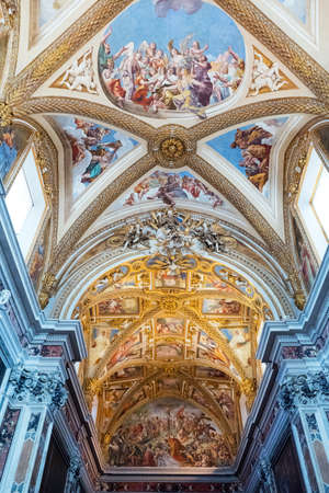 Naples, Italy - August 4, 2015:  The nave ceiling of the Certosa Di San Martino