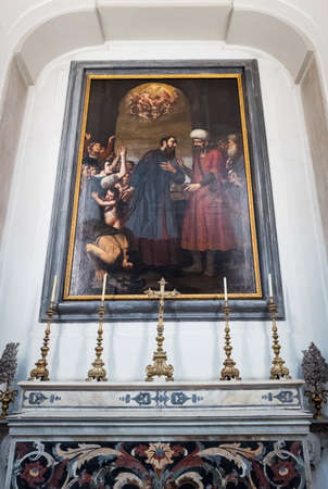 Naples, Italy - August 4, 2015:  A painting by Azzolino in the Pio Monte Della Misericordia church Editorial