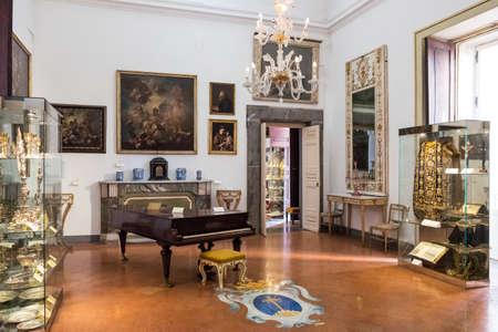 Naples, Italy - August 4, 2015:  A hall of the Pio Monte Della Misericordia institution