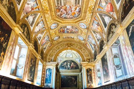 Naples, Italy - August 4, 2015:  Certosa Di San Martino, painting and decorations of the Farmacie halls Editorial
