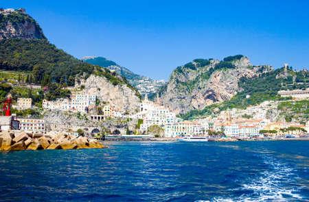tyrrhenian: Italy, Campania,  Amalfi,   the town seen from the sea