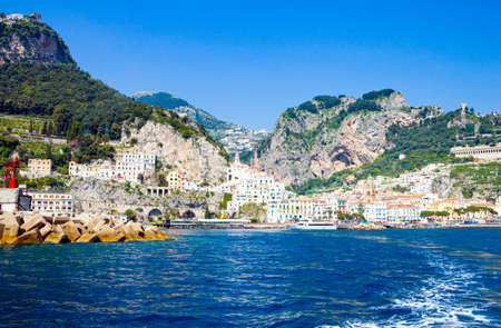 Italy, Campania,  Amalfi,   the town seen from the sea