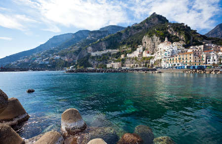 Italy, Amalfitana Coast, Amalfi, view of the country from the pier Stock Photo