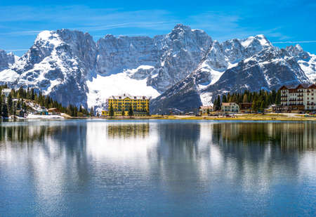 Italy, Dolomites, the Misurina Lake with the Sorapiss mountain in the background Stock Photo