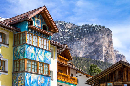 Selva di Valgardena, Italy - April 26, 2012: A typical house with decorations in the country center
