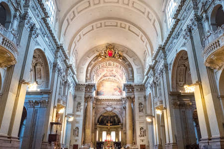 Italy, Bologna, the nave of the St. Peter cathedral