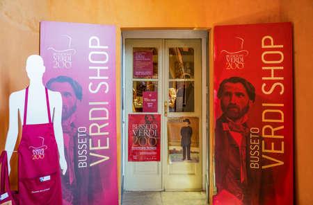Busseto, Italy - November 29, 2013:  A souvenir shop at the entrance of the Verdi Theatre