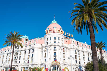 seafronts: Nice, France - March 19, 2016: A famous luxury hotel in the Promenade del Anglais Editorial