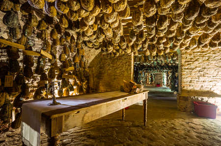 Polesine Parmense, Italy - November 29, 2013: The cellars for the aging of salted pork in the Antica Corte Pallavicina Relais